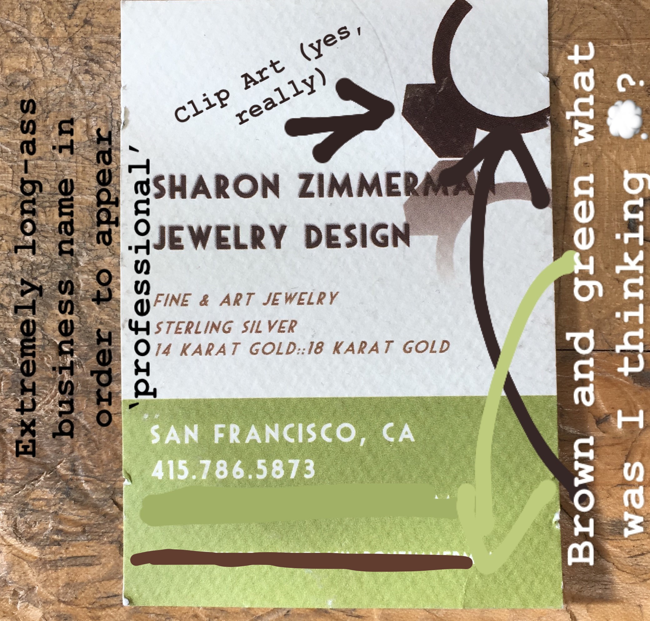 Old business cards with commentary - SharonZJewelry.jpg