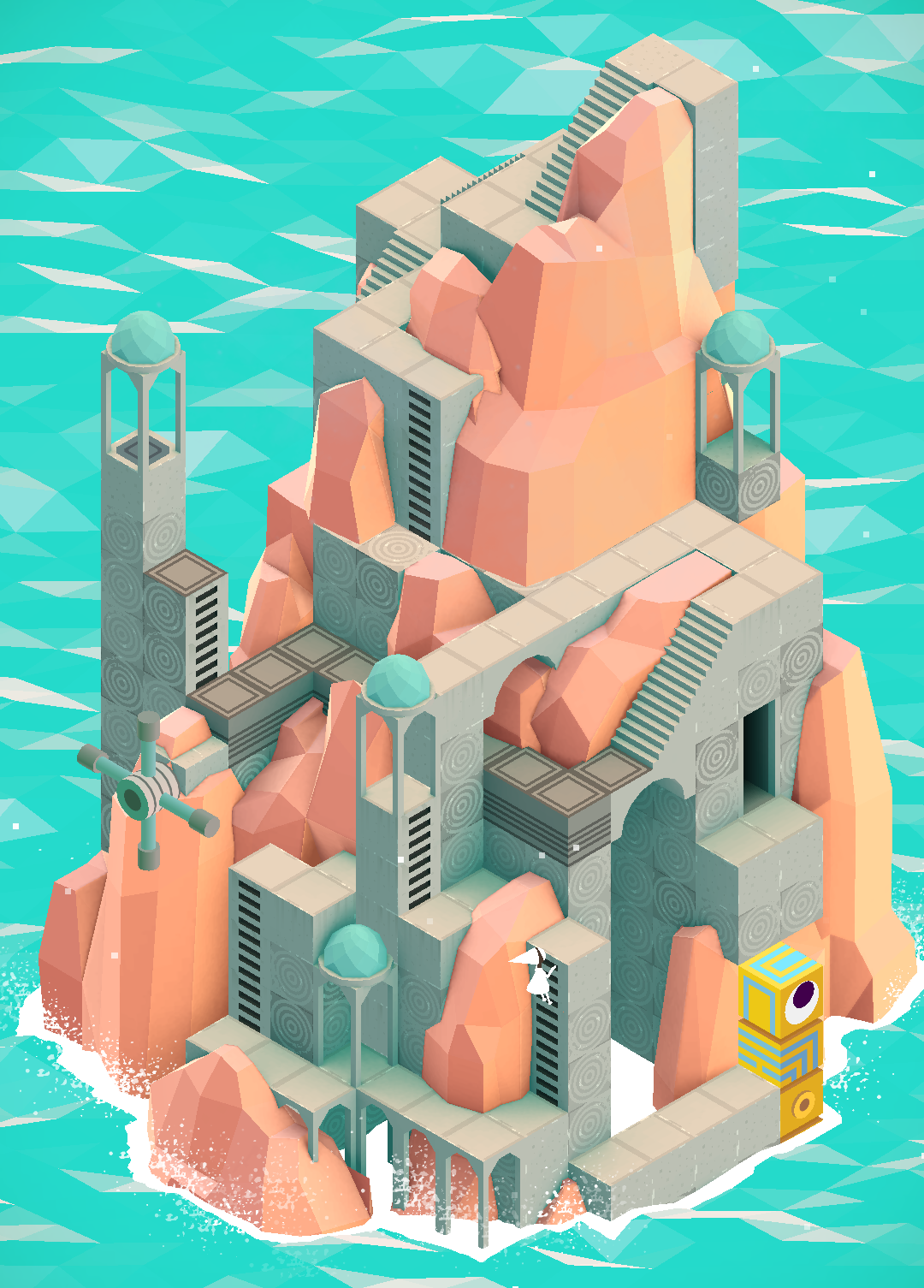 Isometric / flat perspective, cell shading, bright colors, low-poly