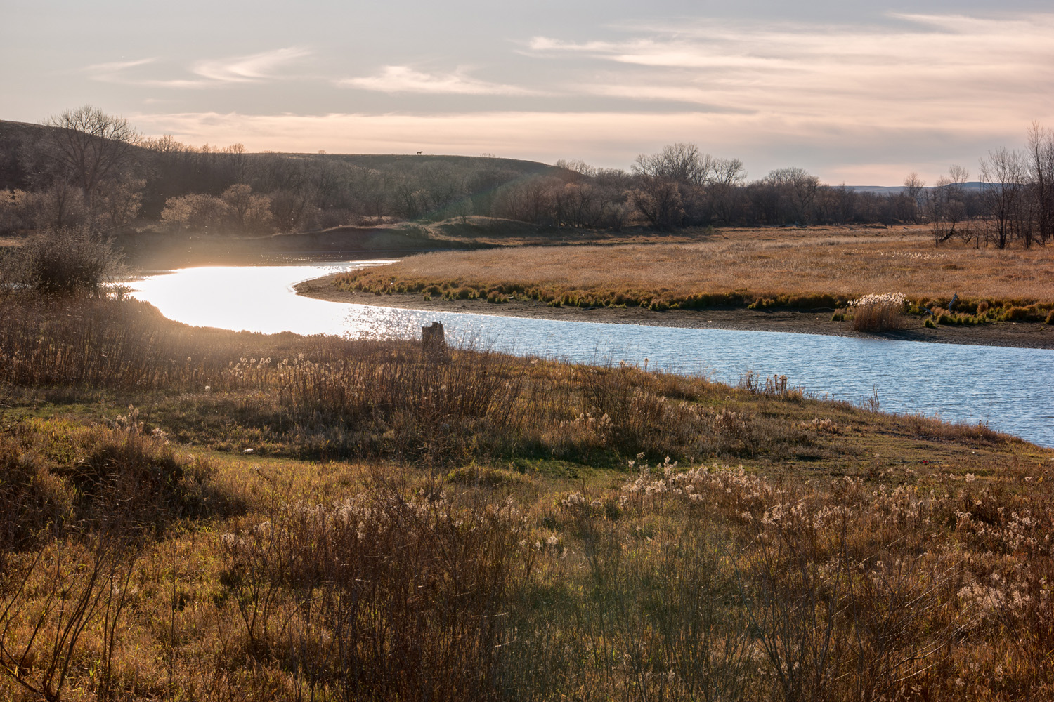 The Cannonball River running through the Standing Rock Sioux Reservation.