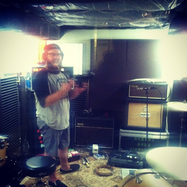 Mike likes percussion...  Recording  Better Days  at  Hey Charlie Studios .