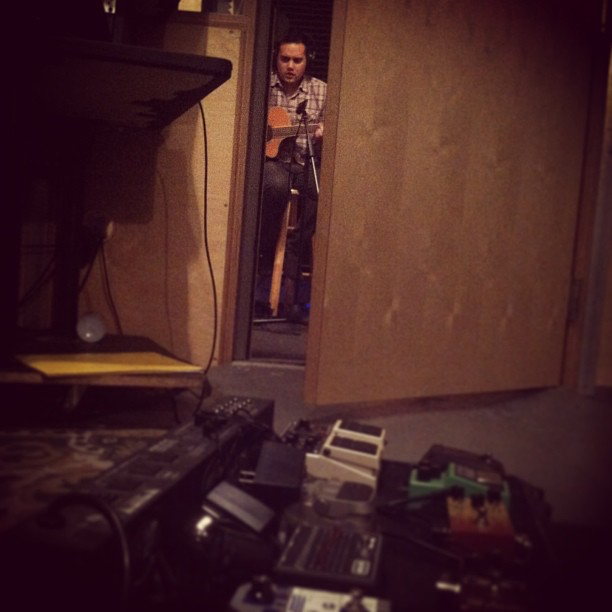 Acoustics and pedals.  Recording  A Harm Deep But Shining  at  The Jungle AE.
