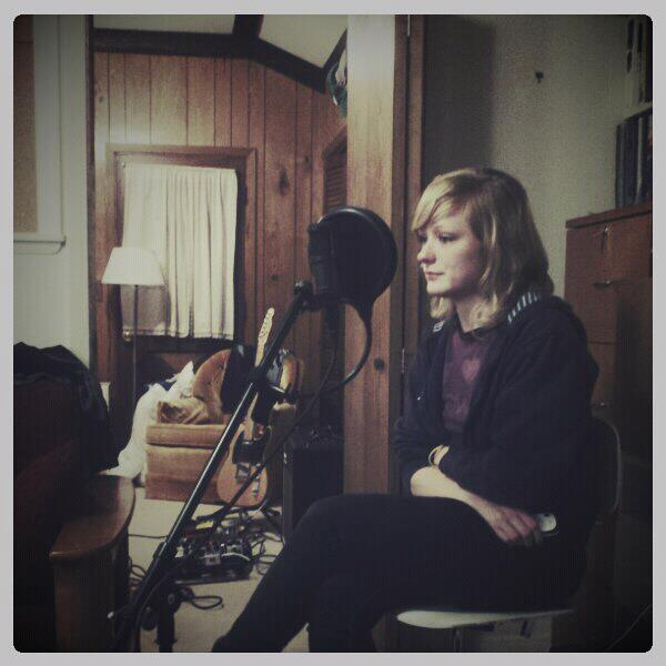 Annette's recording vocals for our 2011 Christmas present EP.