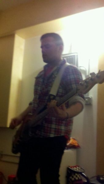 Nick tracking bass for our first EP,  Damn You & Damn Me, Too,  at  The Jungle AE .