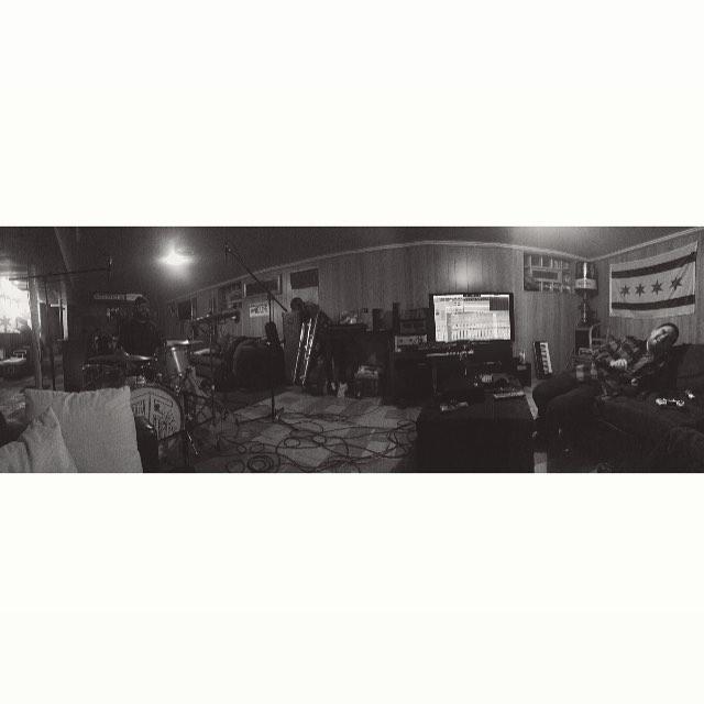 Basement tracking.  Recording  The Flips / Pelafina split EP.