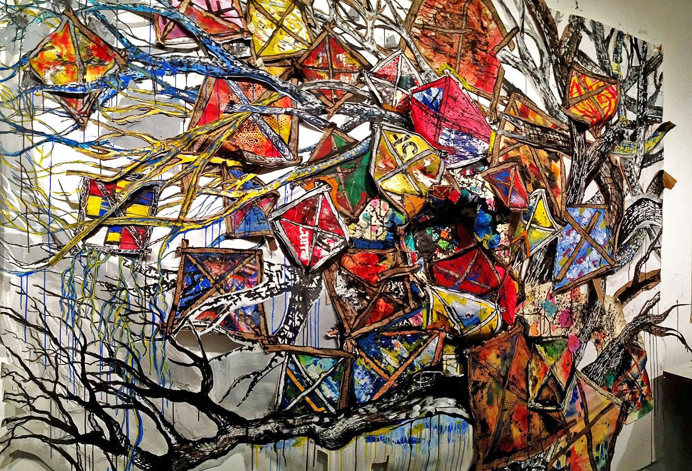 The Lost and Stranded - 6' X 8' - Acrylic and Collage on Paper