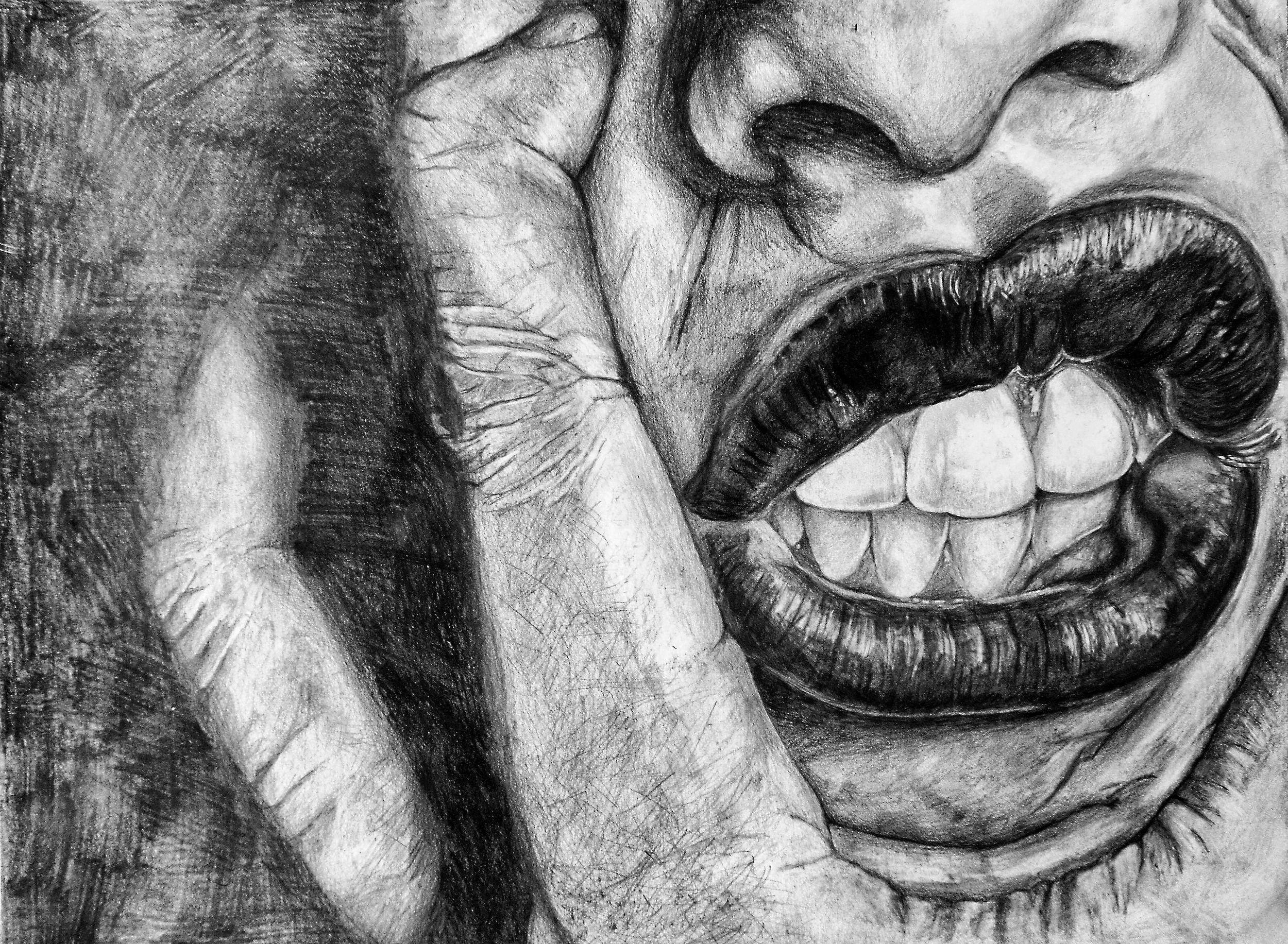 Stress - 2' X 3.5' - Graphite on Paper - SOLD