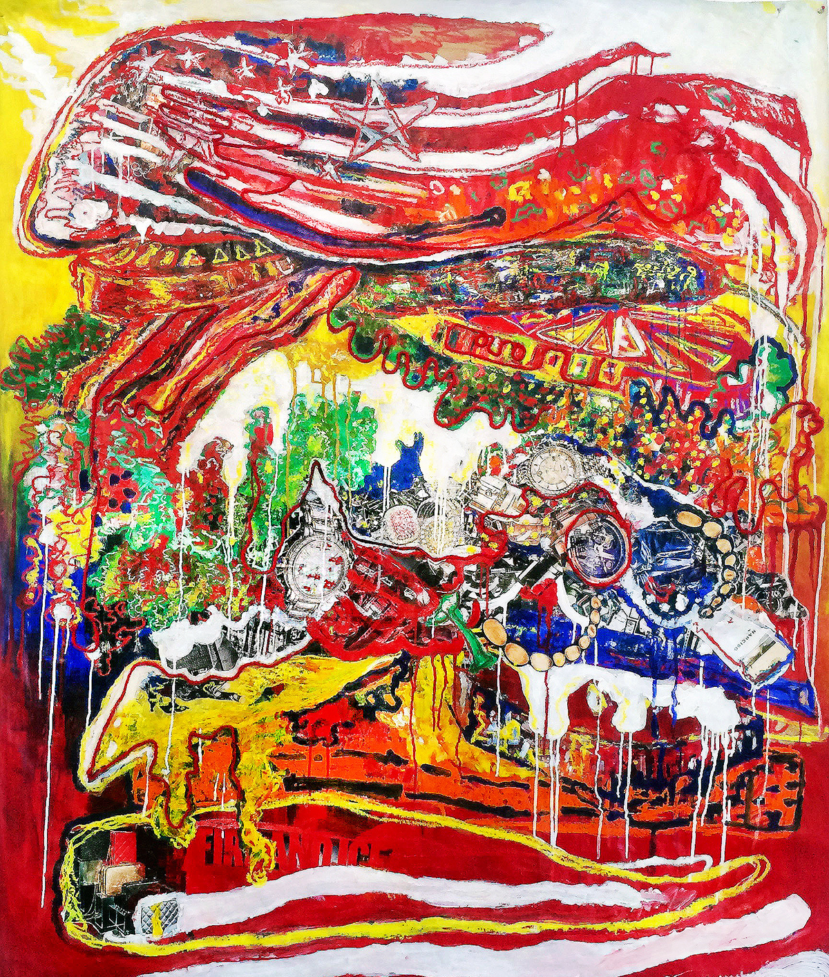American Consumerism - 6' X 4' - Mixed Media on Paper - For Sale - Price Upon Request