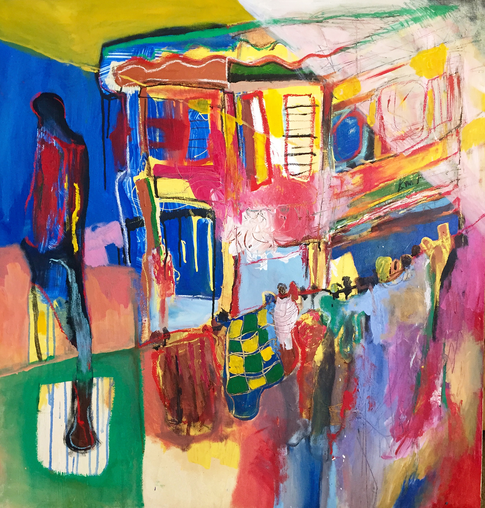 Through the Shutters - Oil and Acrylic on canvas - Available for Purchase - email info@annmcferran.com for inquries