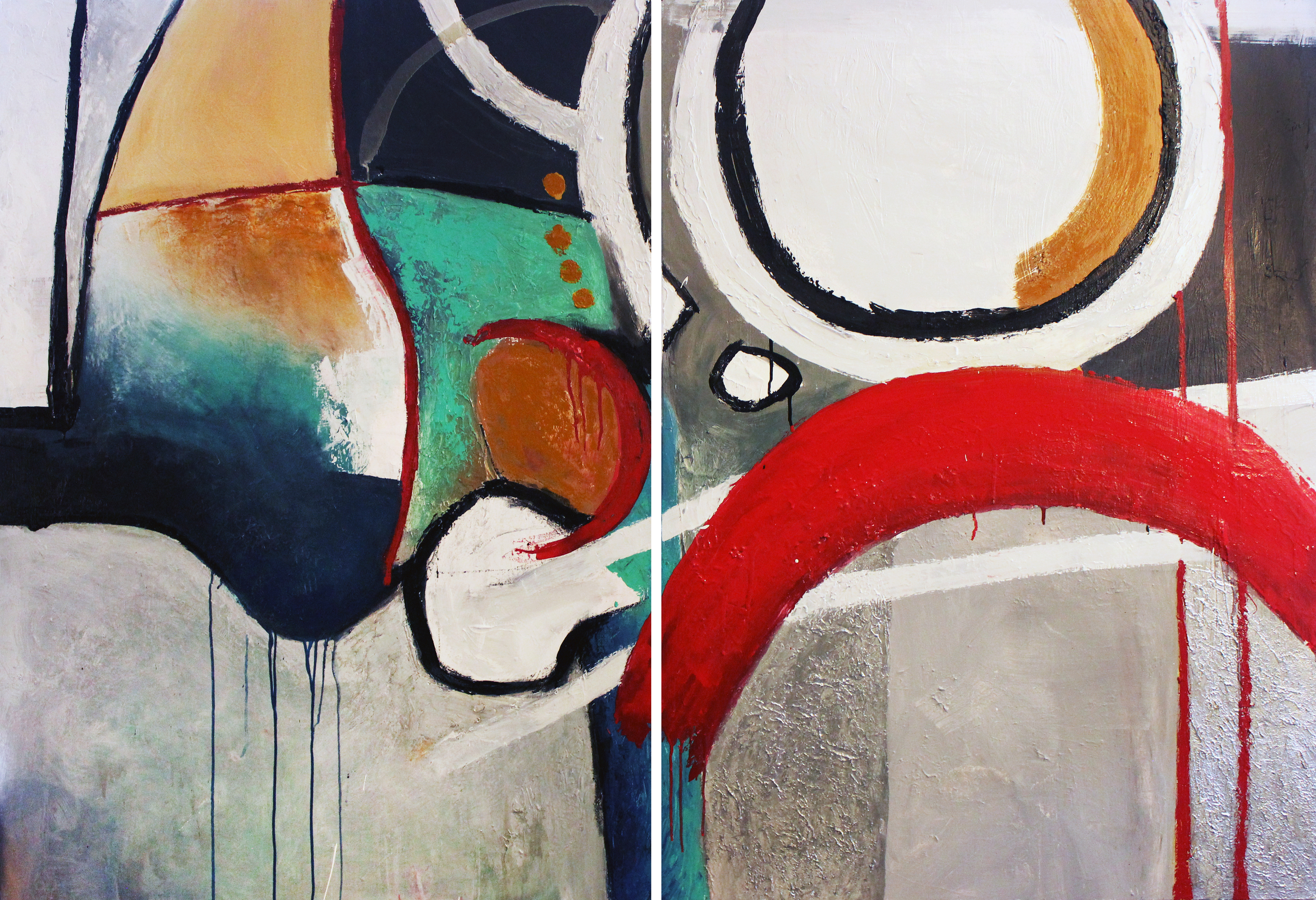 """Structure and Form - Two panels of 48"""" X 36"""" - 2016 - SOLD"""