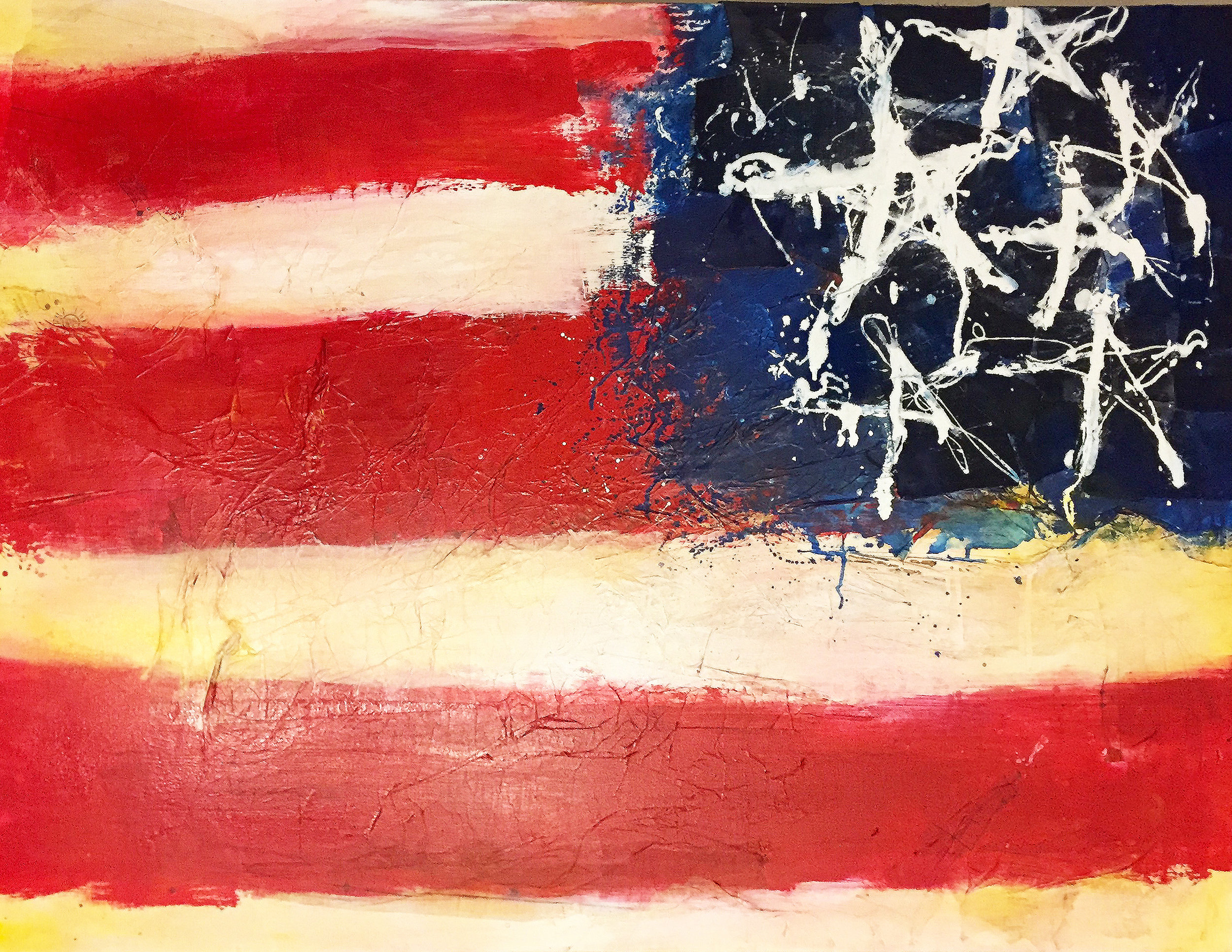 """Made in America"" - Fashion paper, denim, and acrylic on canvas - SOLD"
