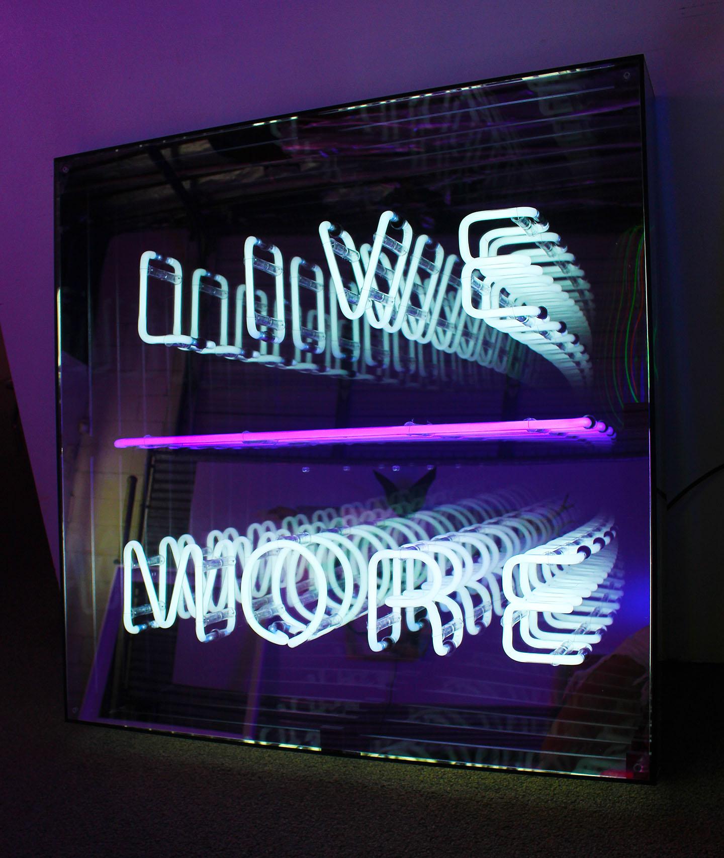 LIVE MORE   Neon, transformer, plexi mirror, plexi, plastic, wire on plexi mirror, 2018.