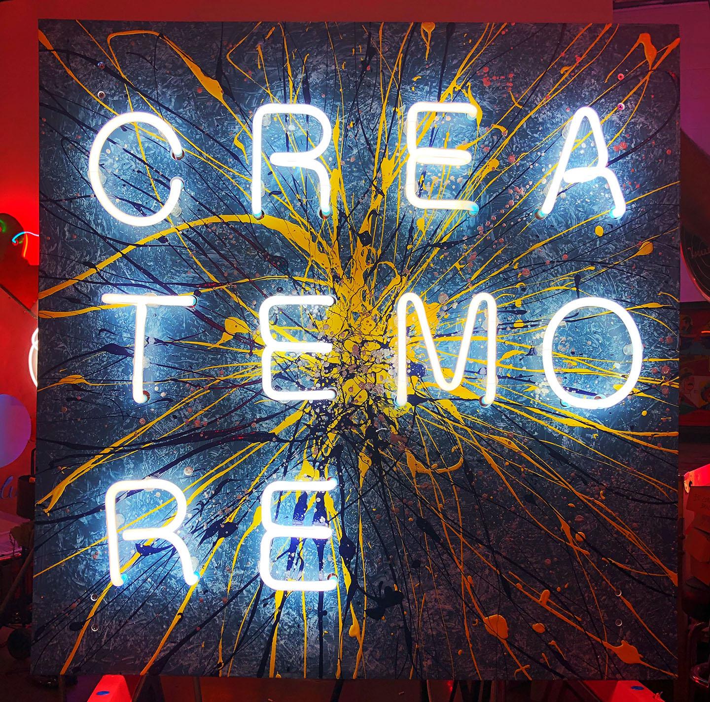 CREATEMORE   Acrylic, Oil, Neon, transformer, plastic, wire on PVC, 2018.