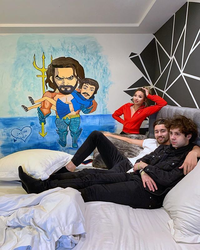 When I helped @jeff revenge prank @daviddobrik with a mural of his ex @lizakoshy and Jason Mamoa. Watch it on @jeff's YouTube channel y'all!