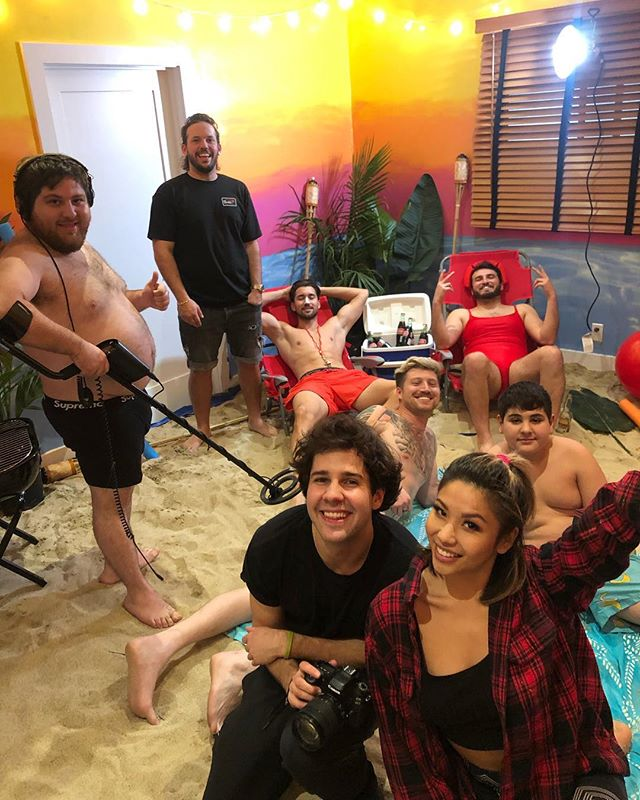 When @daviddobrik asked me to prank paint @natalinanoel's room into a beach getaway 😂🌅. Some 5,000 lbs of sand, a few bucket of paints, and ass cheeks later, here's the final set up and some #bts