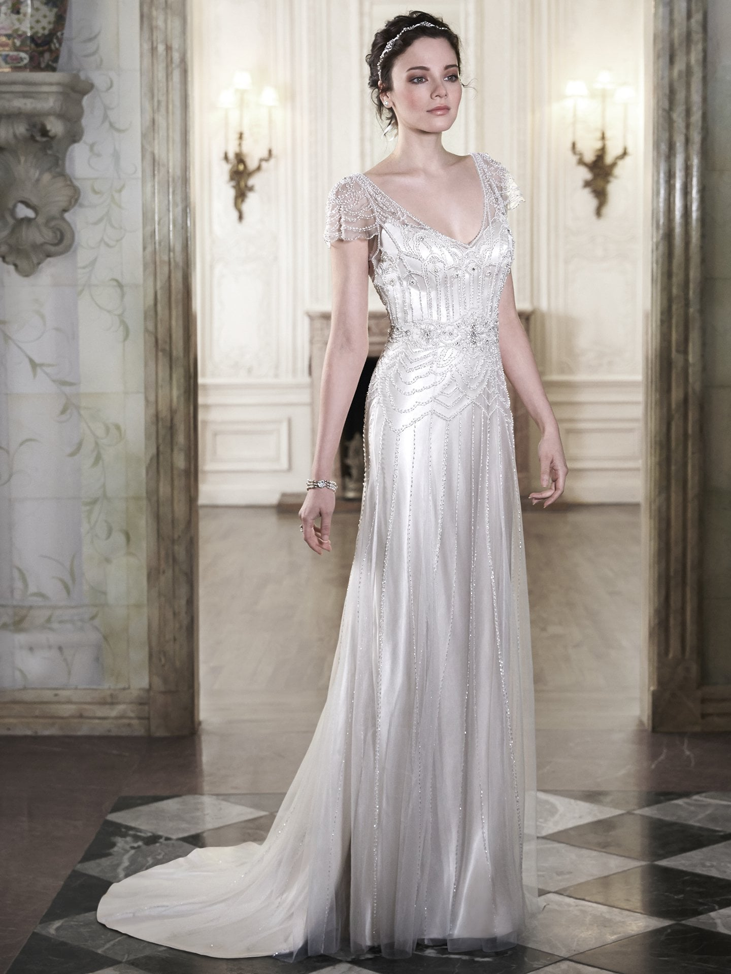 Dresses such as Maggie Sottero's 'Ettia' seem heavily influenced by the 'Downton'look.