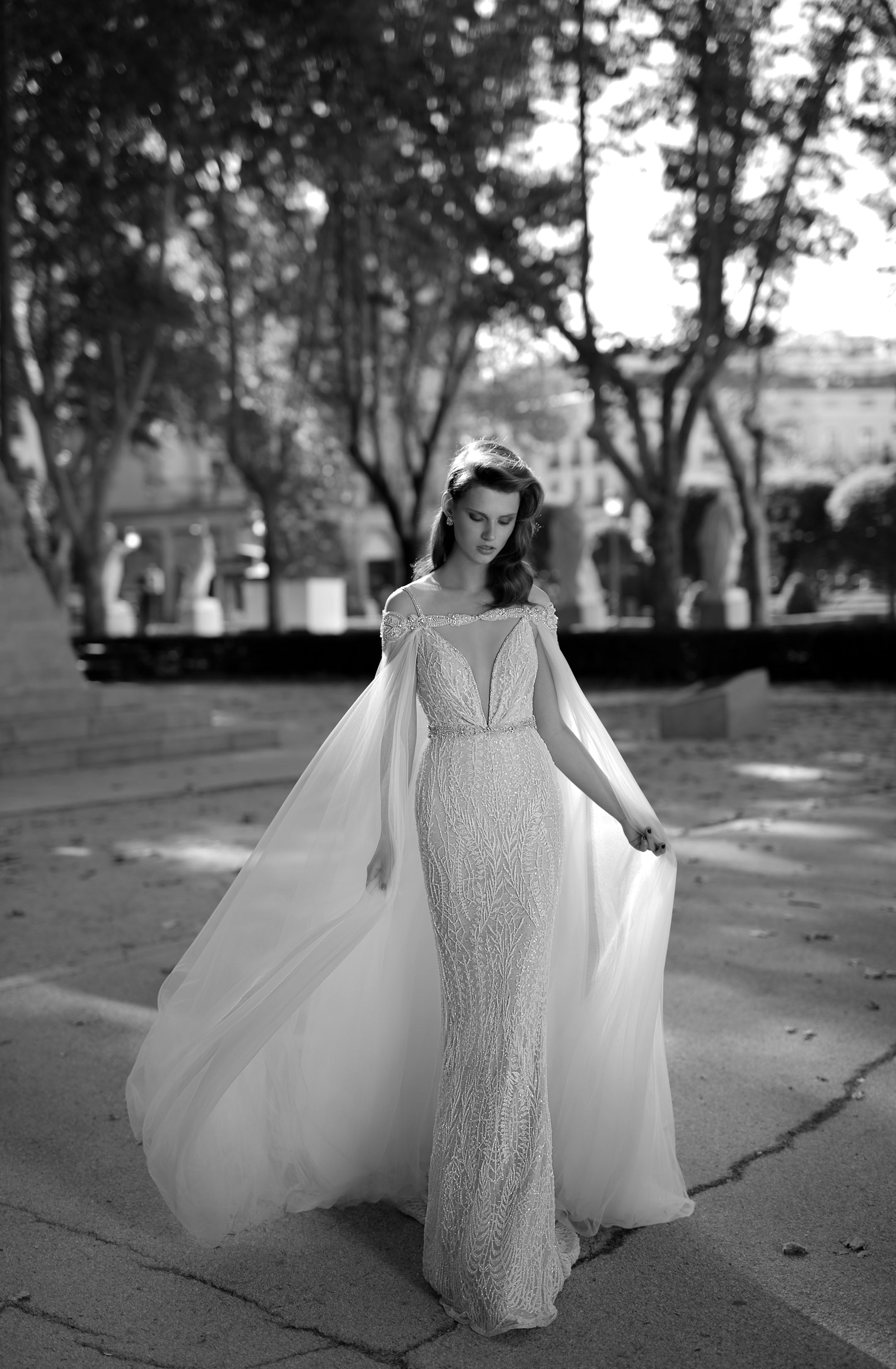 This stunning ensemble from Berta Bridal shows how a bride can wear a cape!