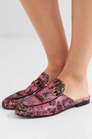 Gucci- Princetown horsebit-detailed metallic jacquard slippers- £450