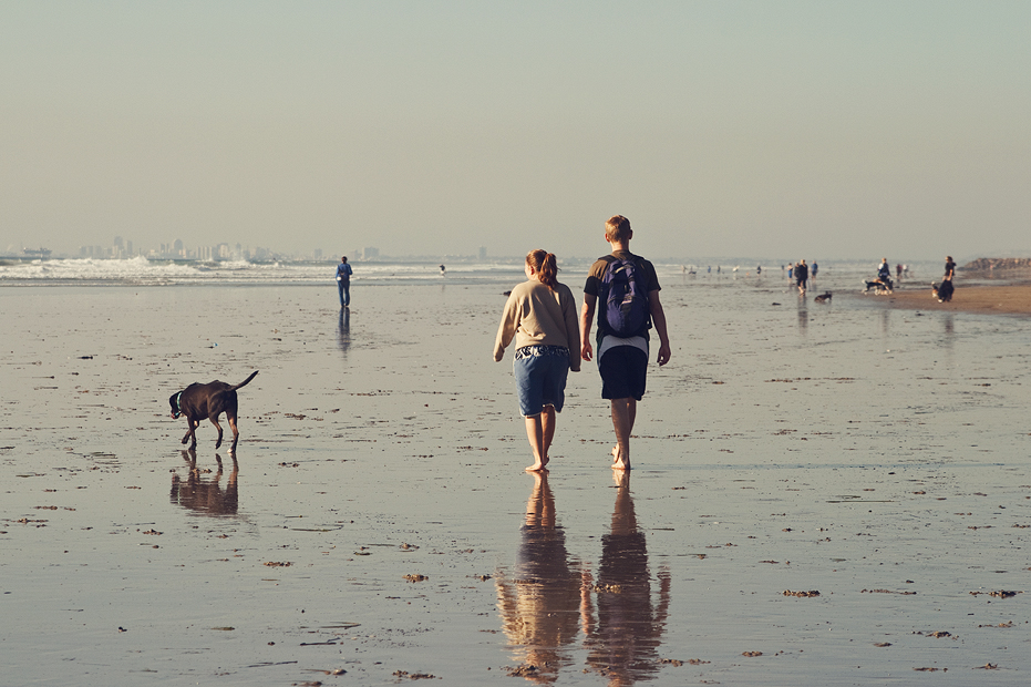 Ellingsen Photography Couple Dog Beach Huntington Rhodesian Ridgeback