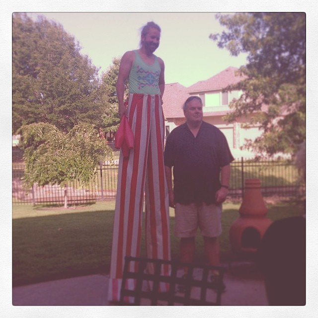 Jeremy with my Step-Dad, modeling his first pair of stilt-pants.