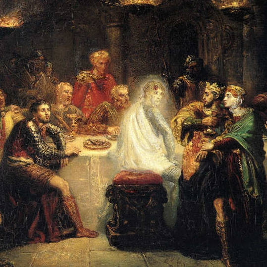 Banquo at the Banquet (good name for a band by Theodore Chasseriau, captures the moment Macbeth has his funny turn.
