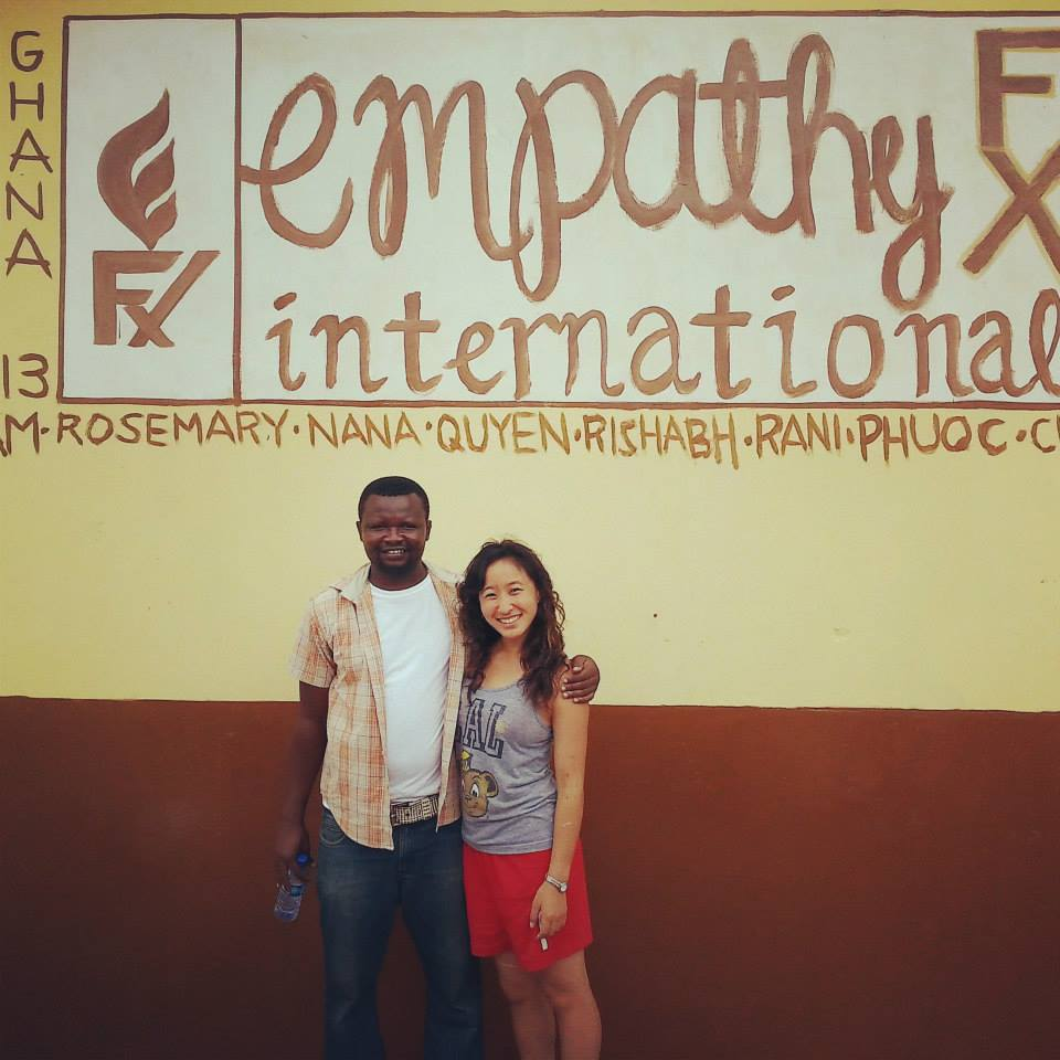 Co-founders Nana Aggrey Fynn and Rosemary Hua in front of an Empathy FX school built in 2013.
