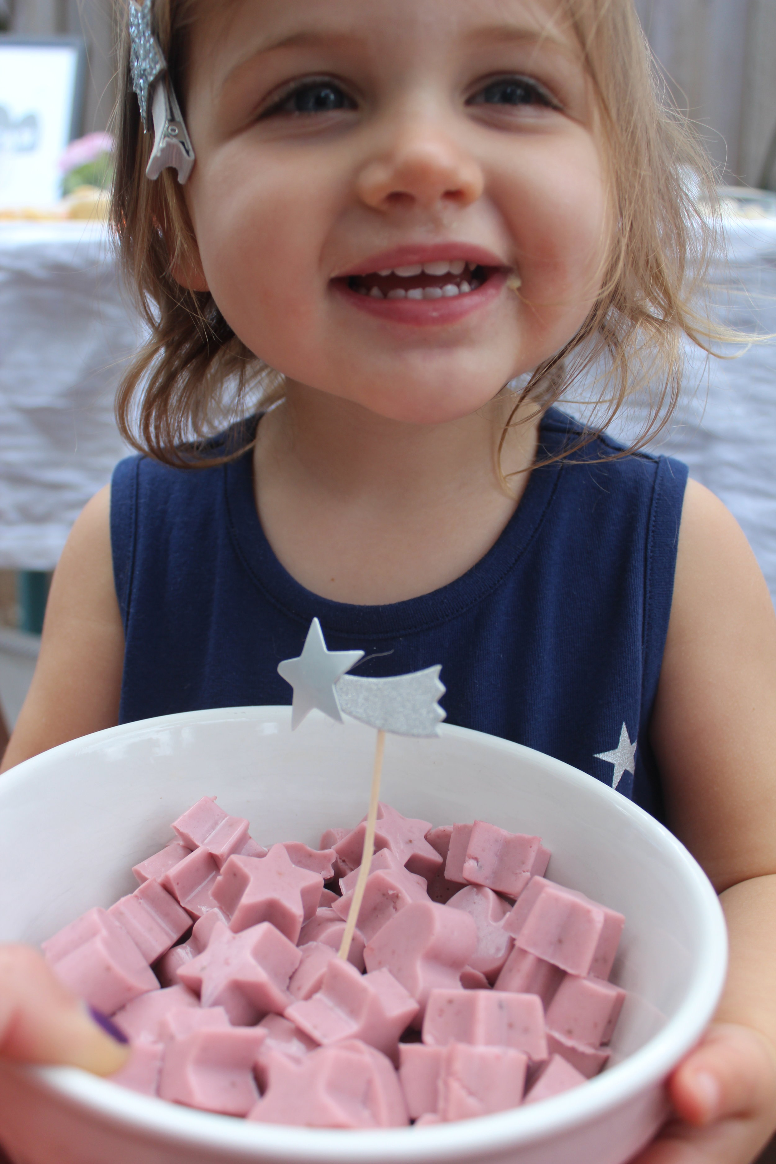 Skye with her Strawberry Smoothie Gummies, recipe by Training for Chocolate's