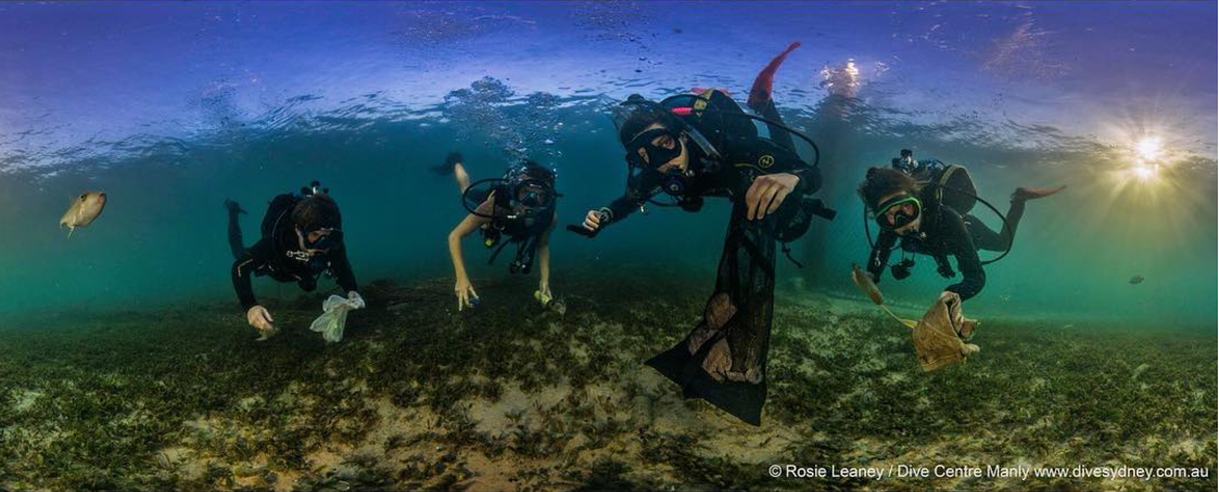 Divers come face to face with plastic pollution during an underwater clean up around Manly. Photo by @rosieleaney of Dive Centre Manly.
