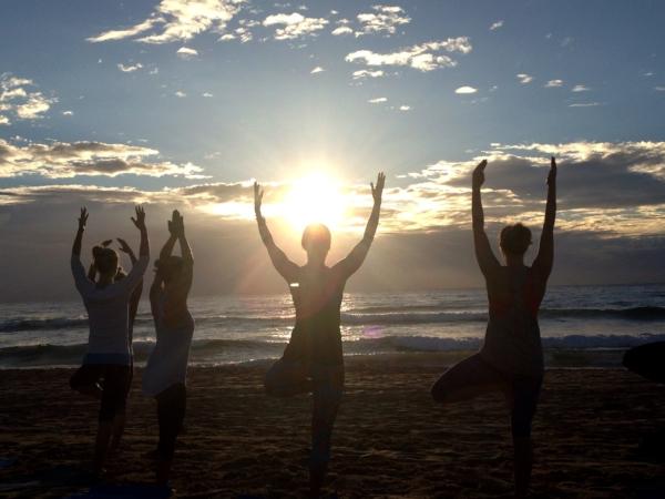 Sunrise Yoga on my Wedding Day at Manly Beach