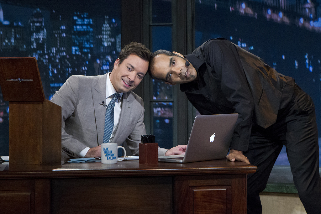 "Jimmy Fallon, Dion Flynn on set of ""The Tonight Show"""