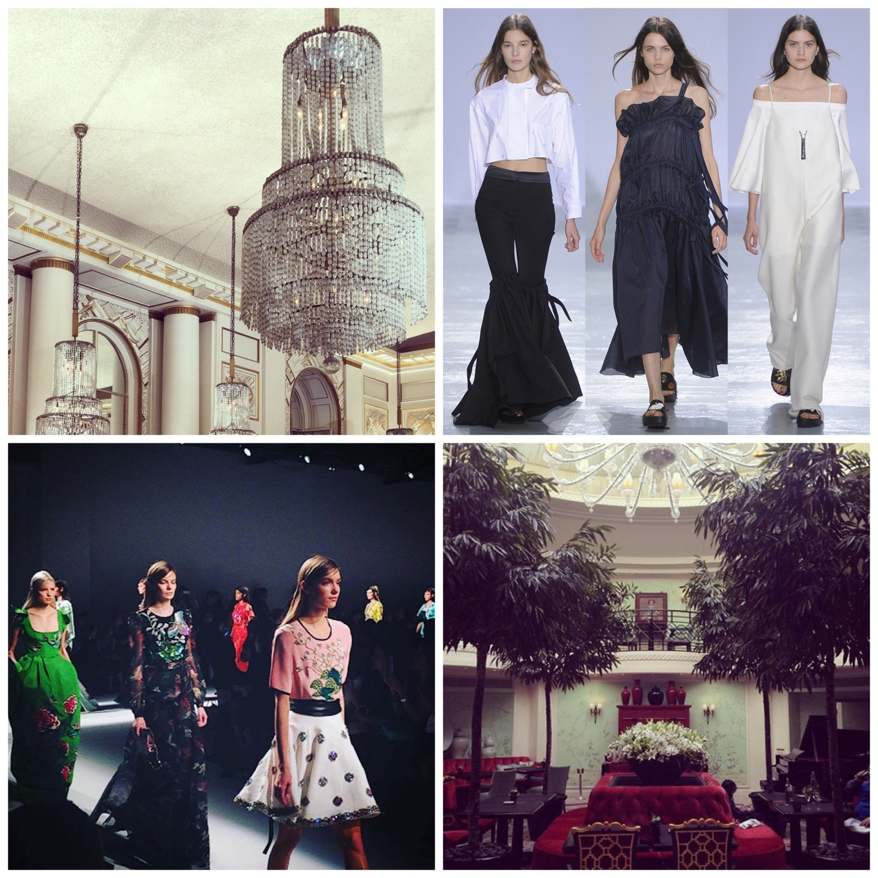 Chandeliers at Roland Mouret, Ellery does black & white best, beautiful florals at Andrew Gn, tea at the Shangri-La Hotel.