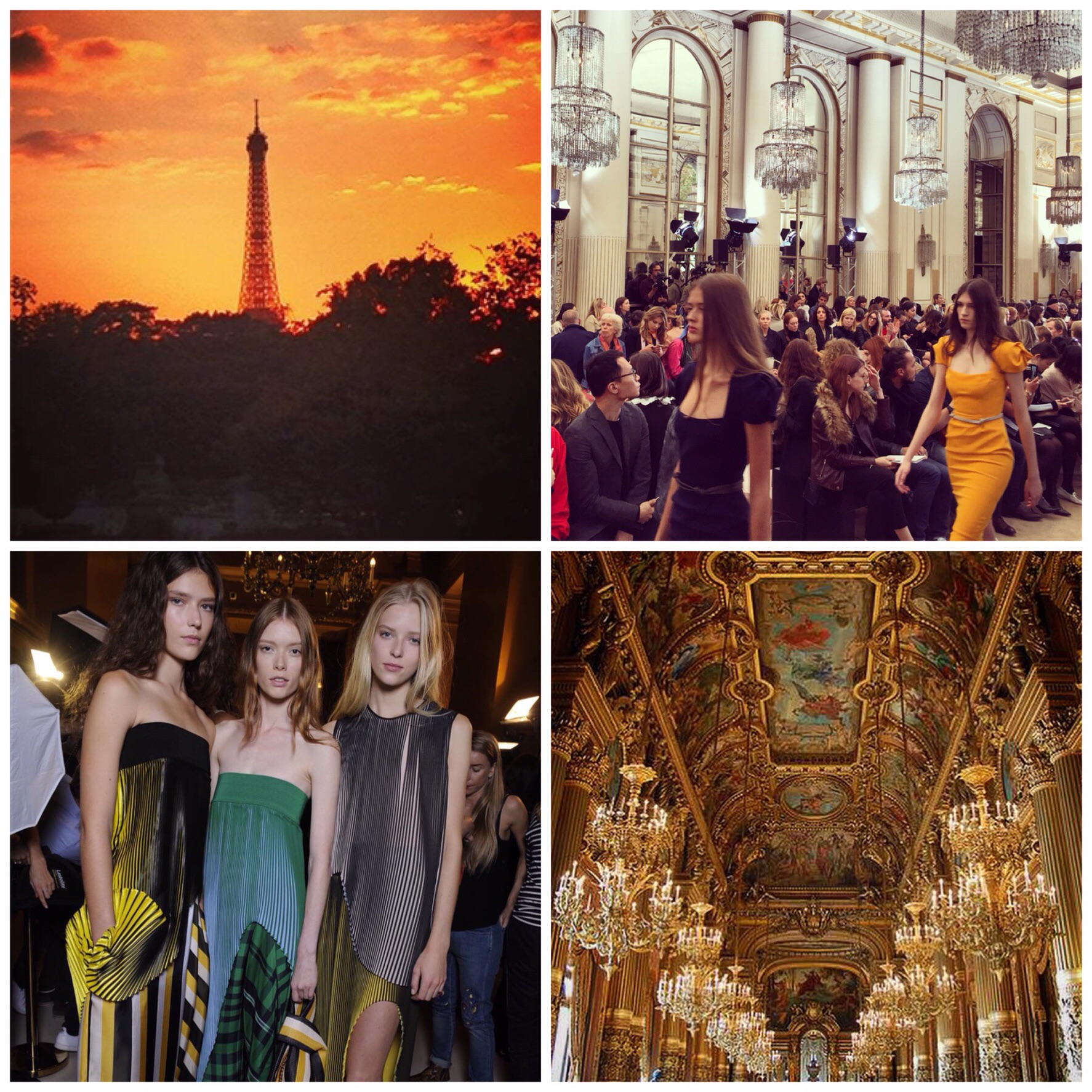 Sunset stroll, Roland Mouret show celebrates 10 years of his iconic Galaxy Dress, Stripes at Stella McCartney, Palais Garnier.