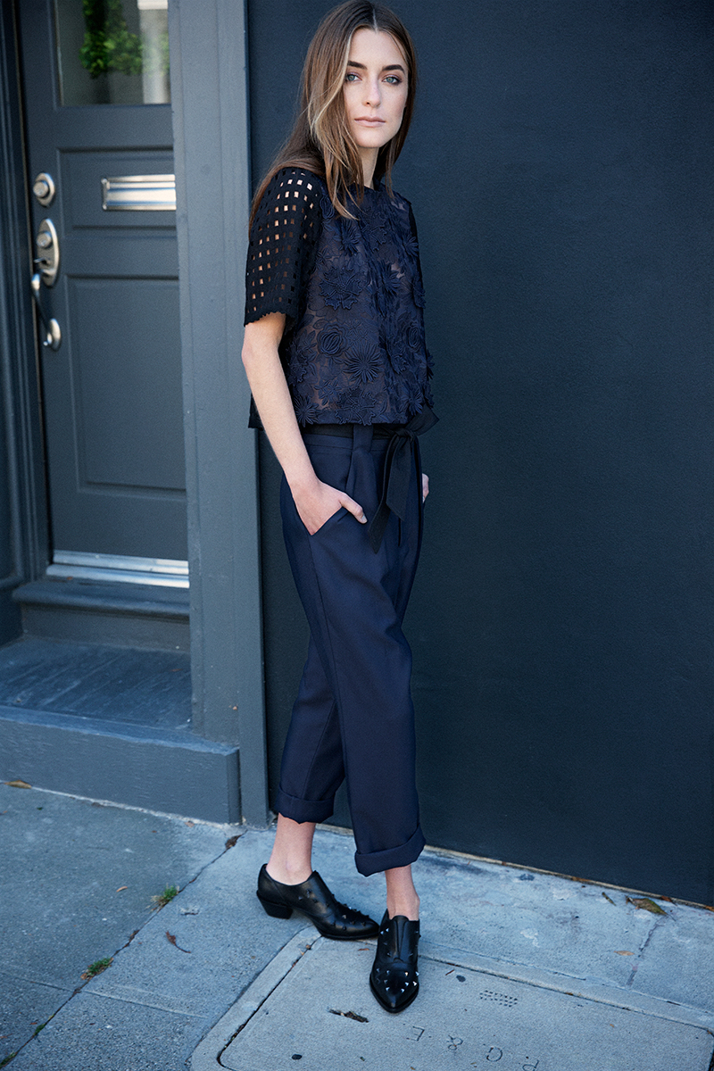 SEA top and navy belted trouser, Alexa Wagner studded oxfords