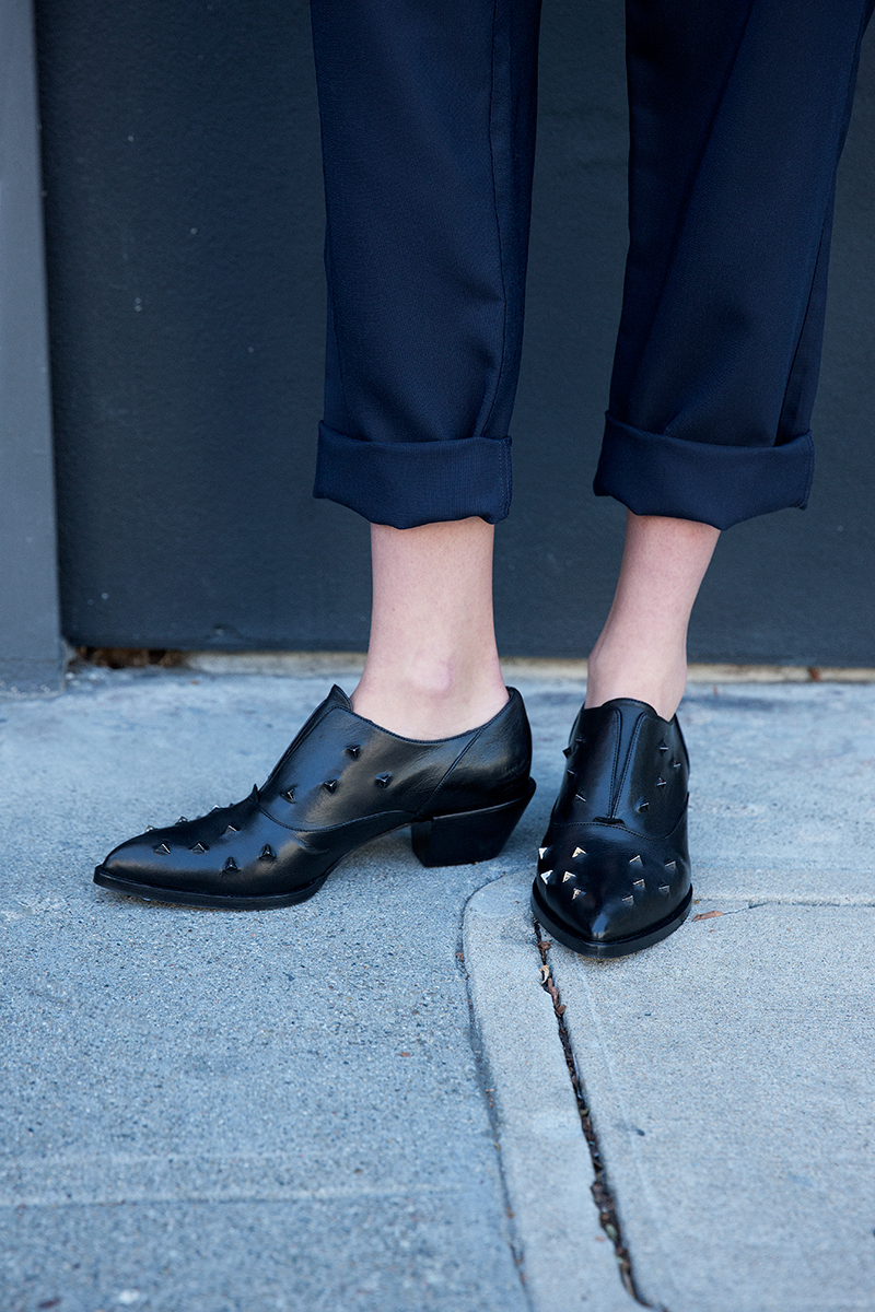 Alexa Wagner studded oxfords