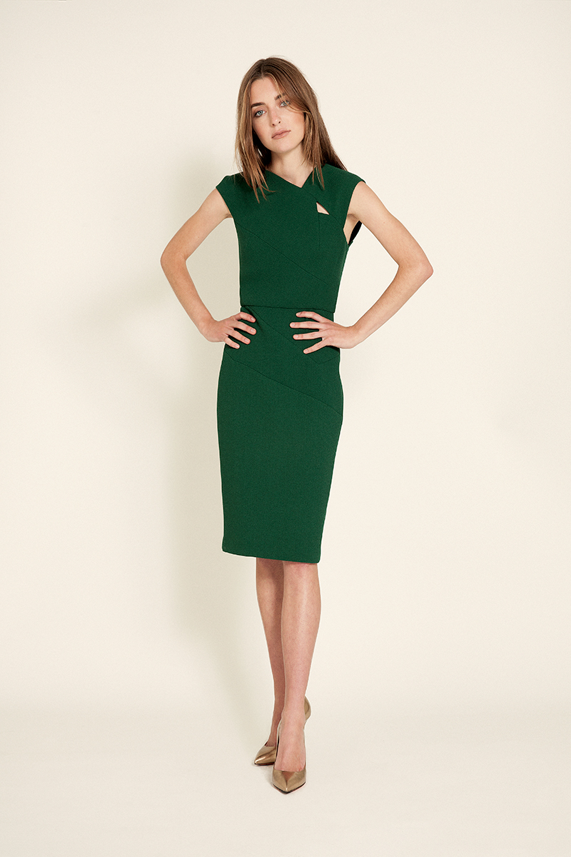 fern green dress | Roland Mouret gold pumps | Santoni