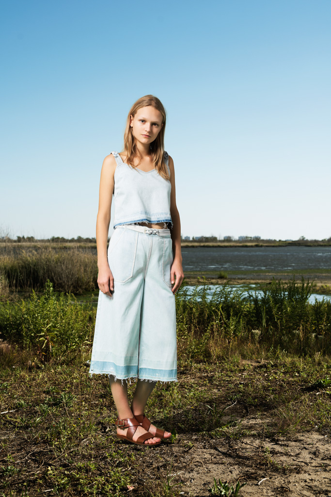 SEA Washed Out Culottes with Braided Belt
