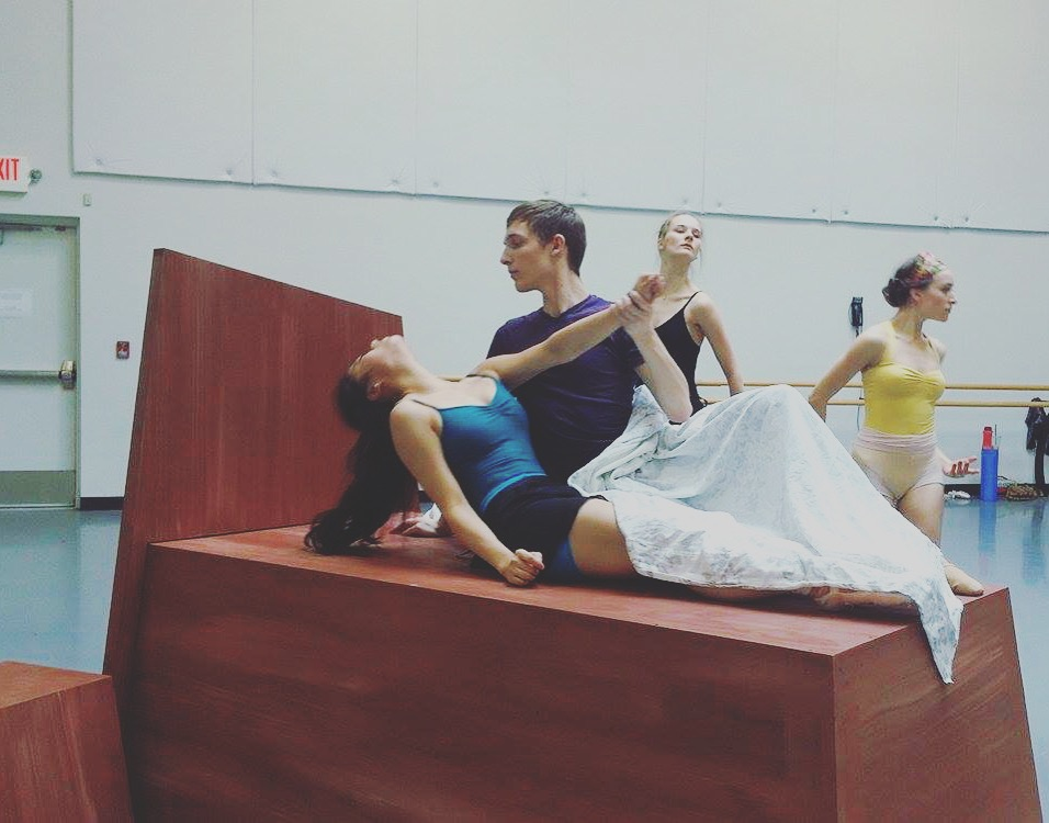 """Chessa Chalmers (as Juliet), Nathan Cook (as Paris), Tanya Ariana Bendis and Julie Heffner (as the """"Queen Mab fairies"""")"""
