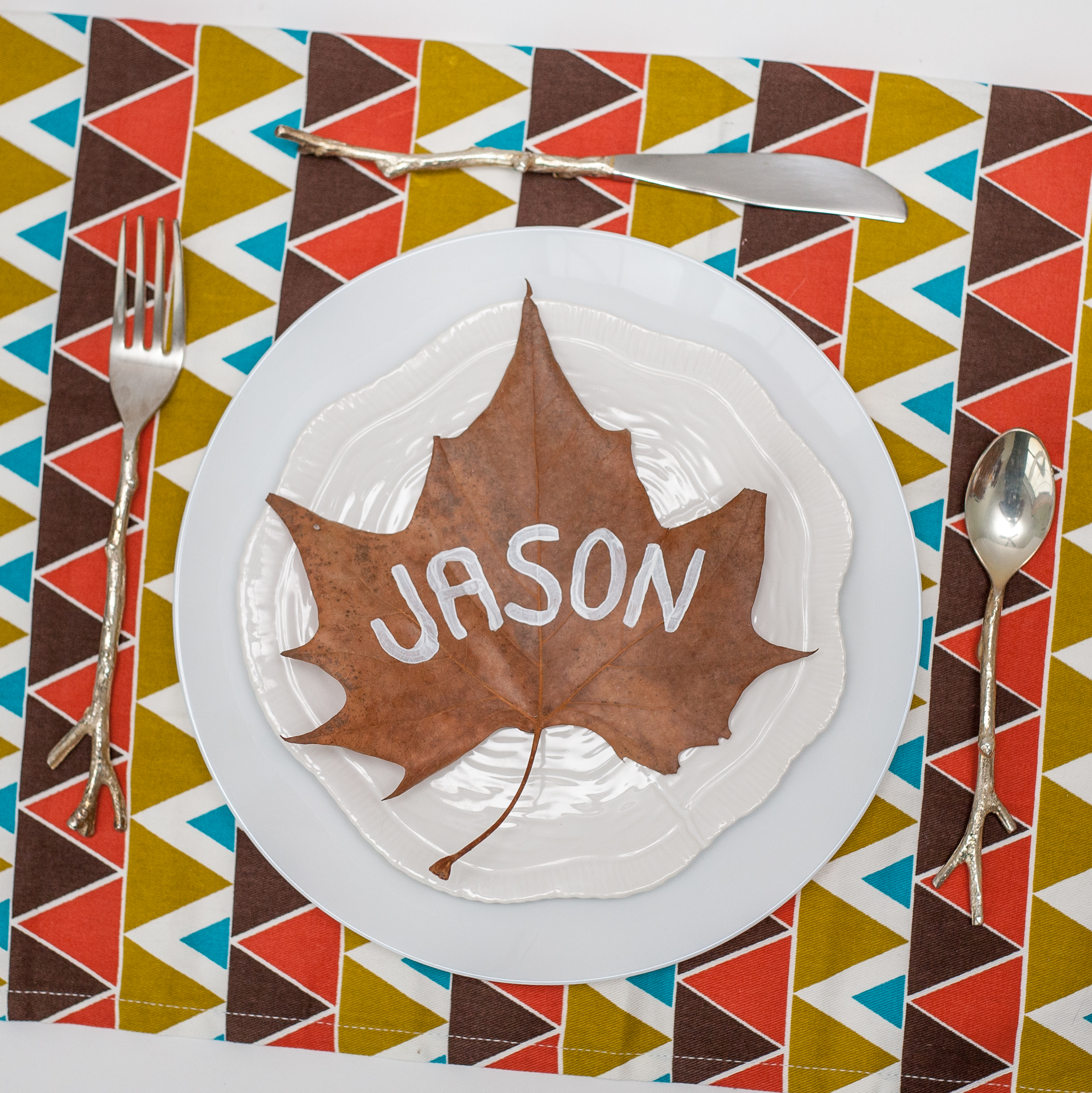 I happen to live next to a bike trail that is covered in fall leaves. It was easy to scavenge for the perfect, extra large leaf! I found that the drier the leaf, the more prone it was to stay flat.  MODIFICATION: If you don't trust your freehand paint skills, I would suggest getting scrapbook letters, arranging them on the leaf, then spray painting to be a reverse stencil. Actually, now that I'm typing it, I'd love to see it as a metallic gold leaf with show-through text!