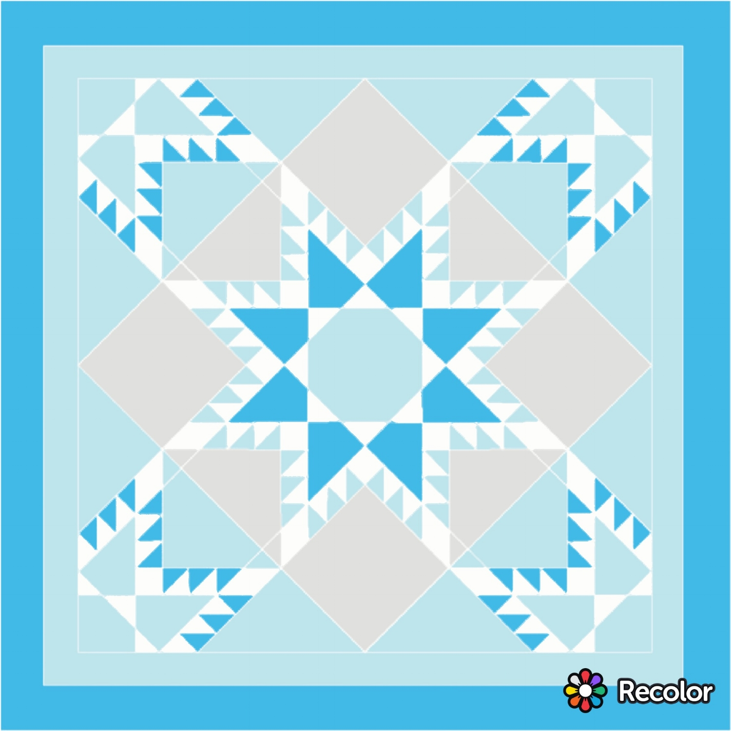 "This lap quilt layout is two 36""  Fierce Feathered Star  blocks arranged an on-point settling."