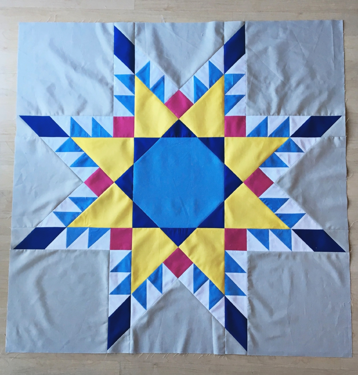 """The final stars we will complete are the 36"""" Fierce Feathered Star blocks."""