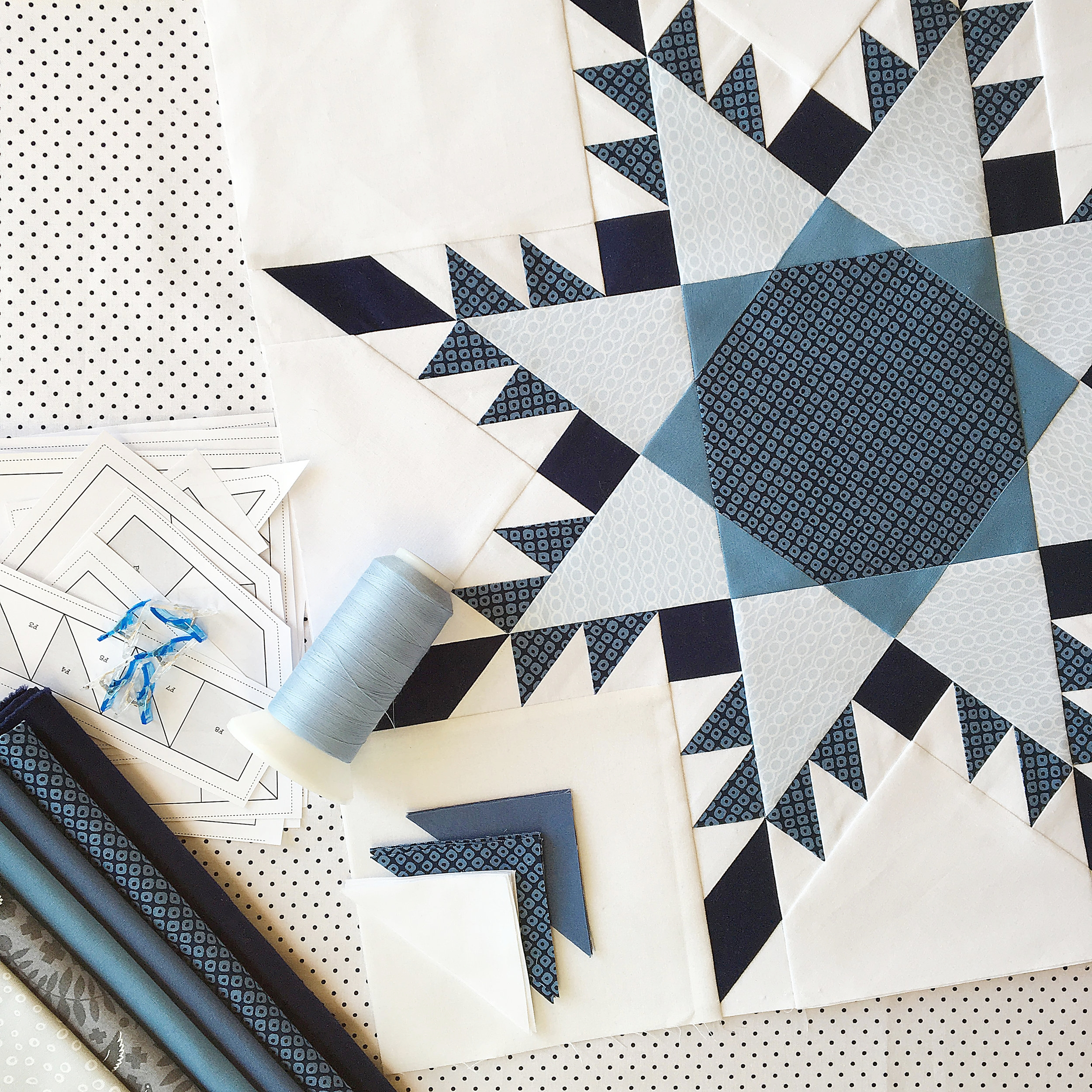 "The 20"" (paper pieced) No Y Seam Feathered Star pattern is new and exclusive to these patterns!"