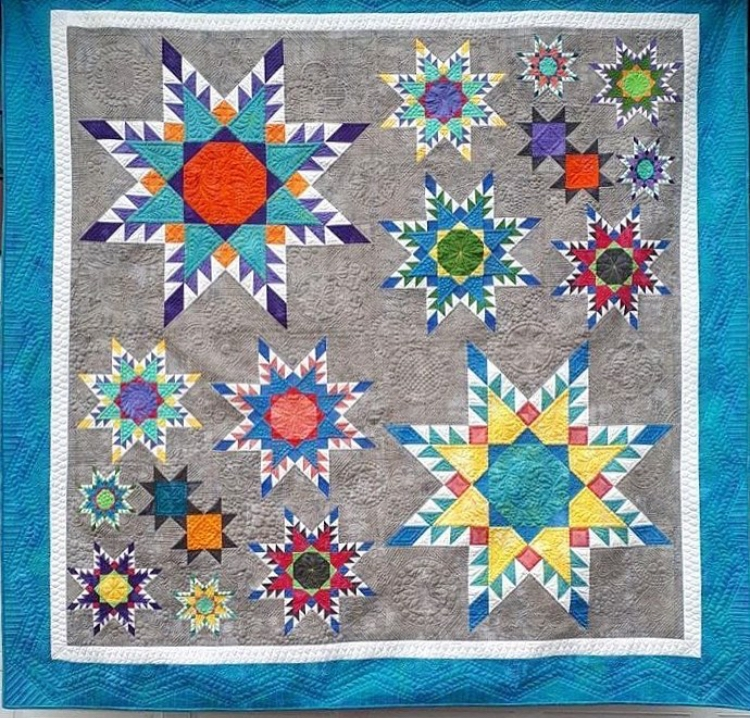 Kelly Levant 's quilt pictured here (her photo) called Summer Stars was recently accepted into Quilt Canada 2018! Congratulations, Kelly!