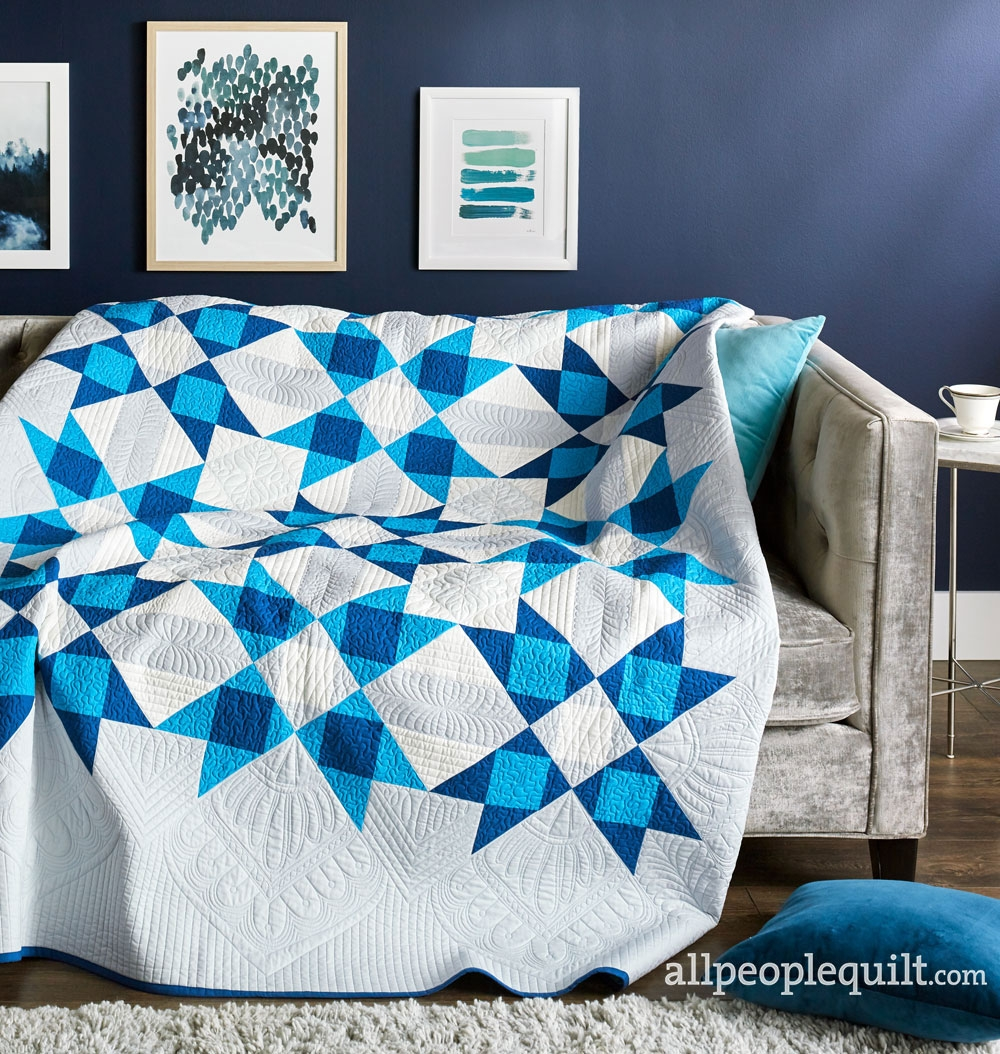 Sea of Stars quilt in the Winter 2019 issue of Quilts and More.   Used with permission from Quilts and More™ magazine. ©2019 Meredith Corporation. All rights reserved.