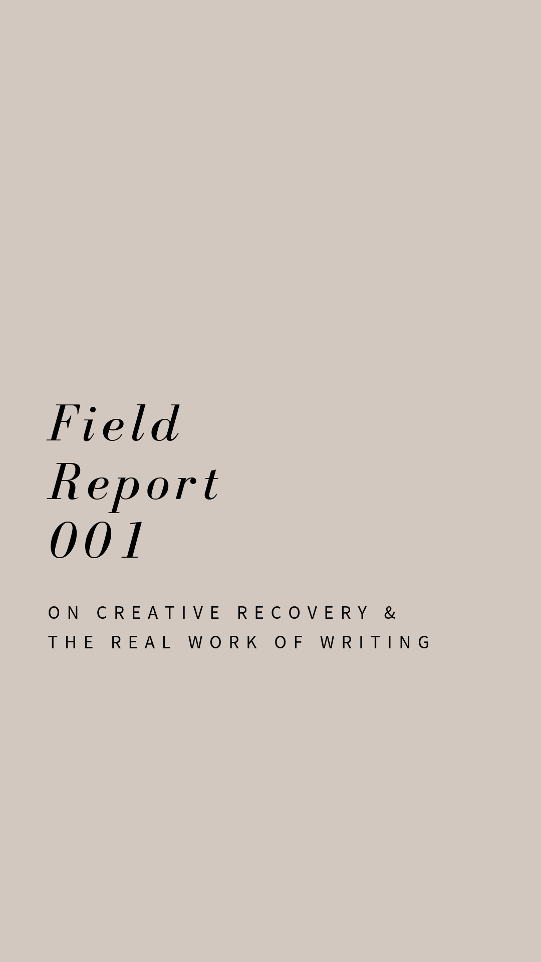Field Report 001: On Creative Recovery & the Real Work of Writing. Written by Jess Davidson.