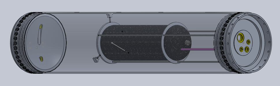 Concept model of fuel tank, showing internally mounted pressurization tank