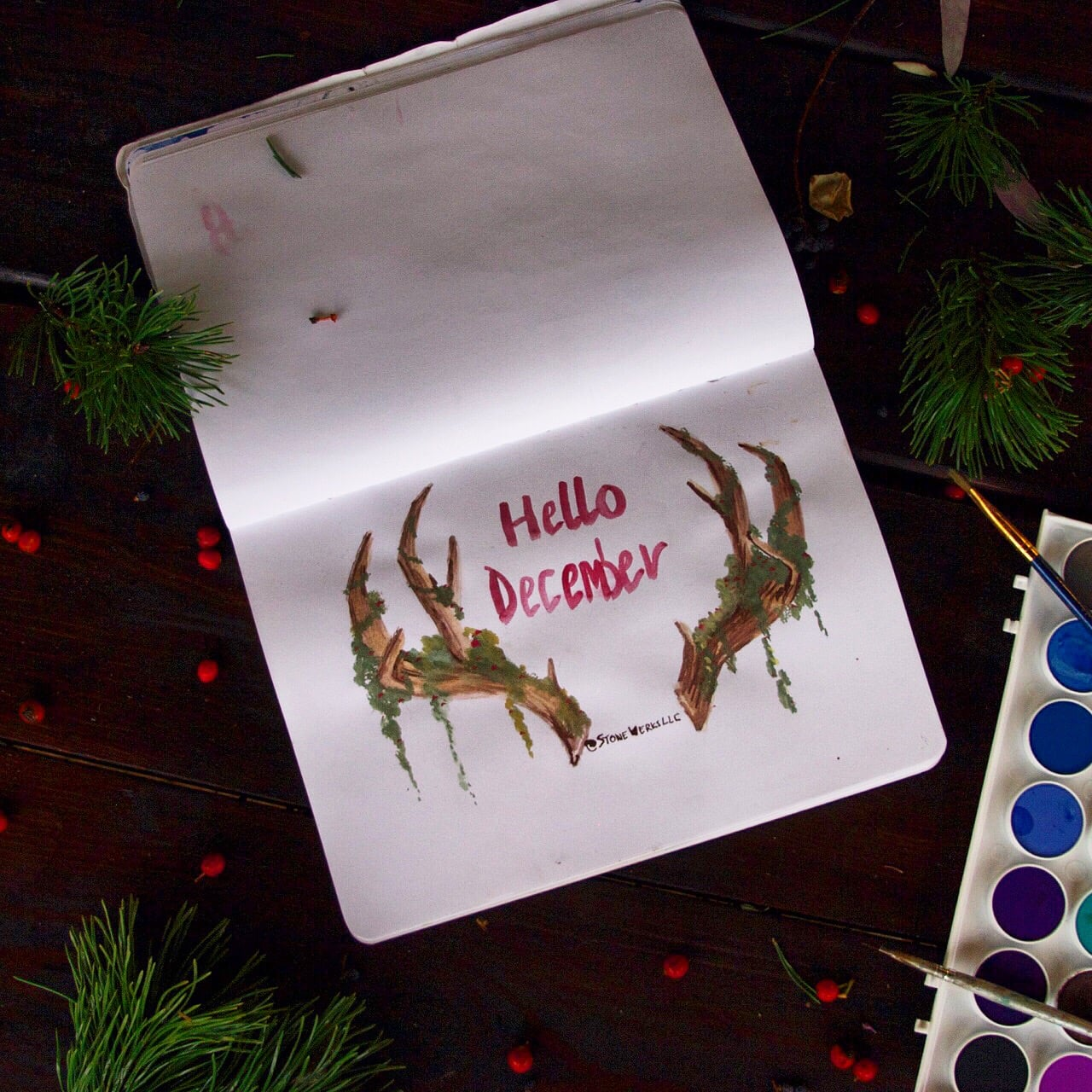 December Deer Antler Watercolor