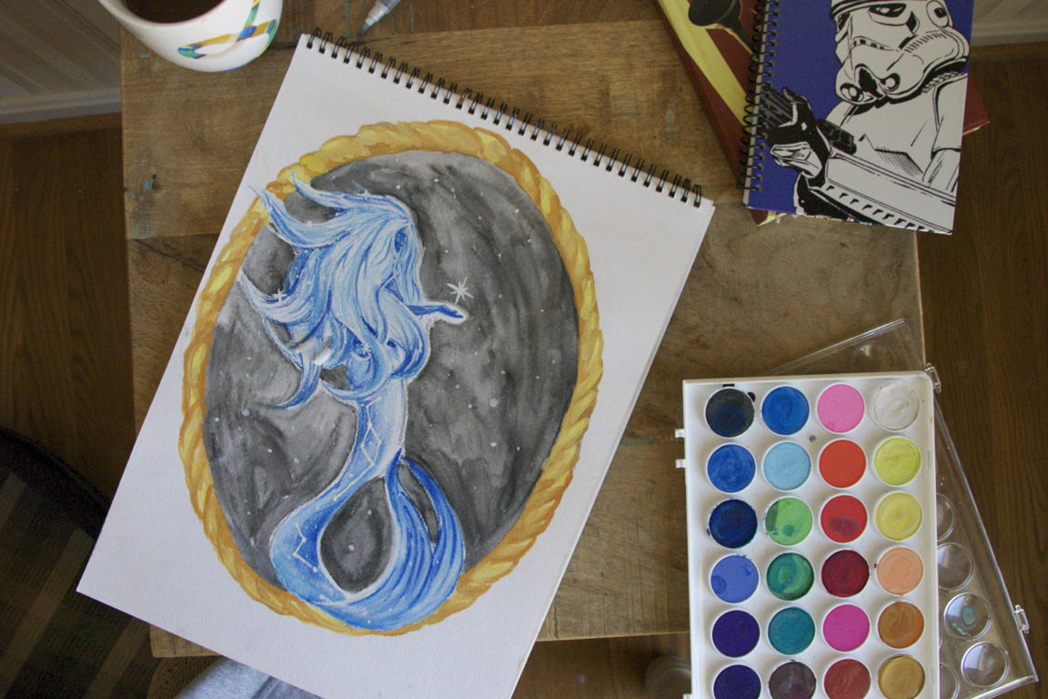 Original art watercolor mermaid