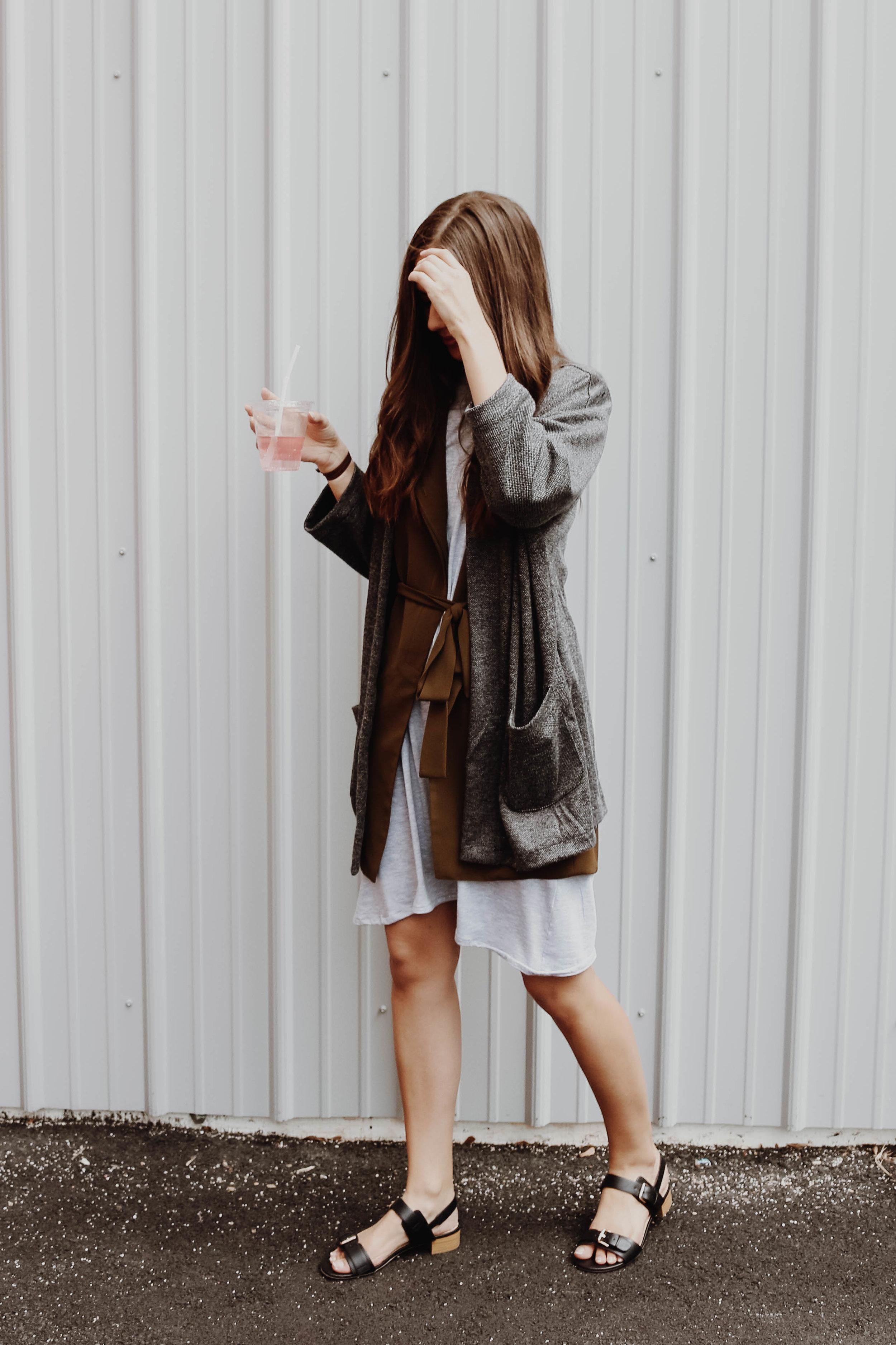 Maris Dress (Bamboo) -  CassBurr Design /Asym Vest (Olive) -  KAZZ
