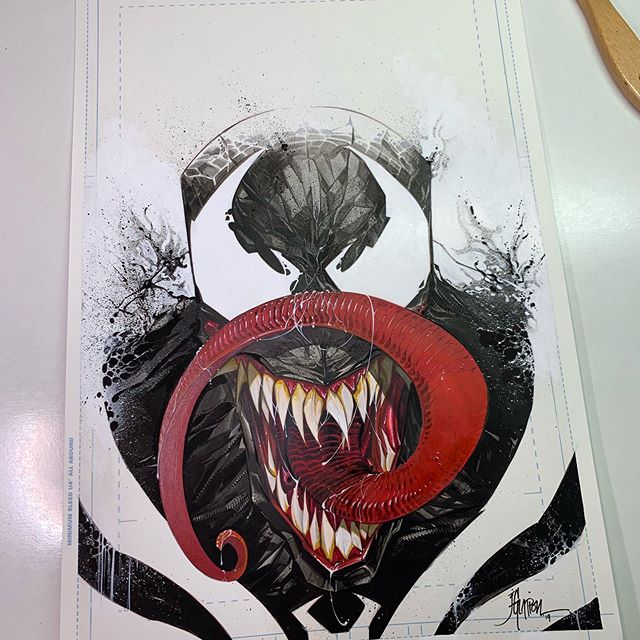 Here's the finished #venom piece. Had a lot of fun with this one. Now back to my day job. #acrylicink #strathmorepaper #originalart #marvel #jonathanglapion