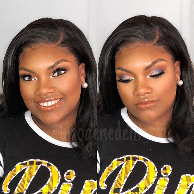 "Have you signed up for my foundation, highlighting & contouring class? In the class I will teach you what the TRUE definition of highlighting and contouring is! Not the Instagram way but the way it is wearable in real life 💁🏾‍♀️! Sign up at www.imogenedent.com  This beauty got ""DENTED"" for her prom! Show some love below if you love this pretty look! #okcmakeupclass #makeupclassinokc"