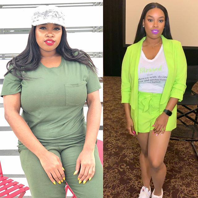 Made my mind up in January that I am going to get to goal weight by July! 10 more pounds to go!  What did I do to loose 20 pounds? - drink a gallon a day - Alkaline (dr sebi) - no meat - Keto  After I loss my 20 I started working out with my trainer @onegreatness_  I am more flexible now, but tomorrow I start back on my original plan! It's not a diet, it's a lifestyle and I don't consume a lot of stuff I use to!  My outfit is from @shopl145 www.shopl145.com